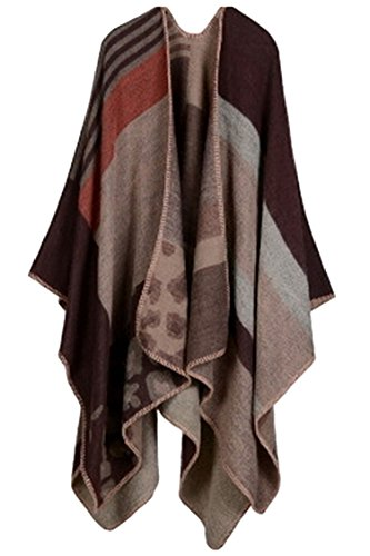 VamJump Women Winter Cashmere Oversized Blanket Poncho Cape Shawl Cardigan Coat, Coffee, Onesize