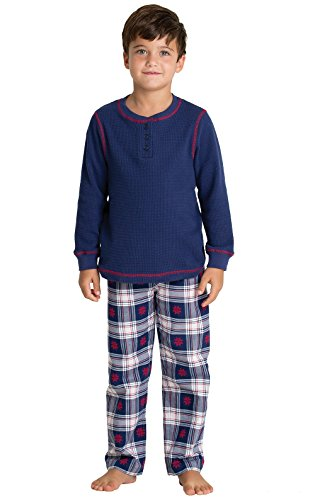 (PajamaGram Classic Snowfall Plaid Flannel Long-Sleeve Pajamas, Blue, Big Boys' 6)