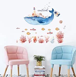 Cartoon Nautical Blue Whale Wall Sticker Beautiful red Coral Fish Decoration Sticker kids Room Bedroom art diy mural decals-xsq