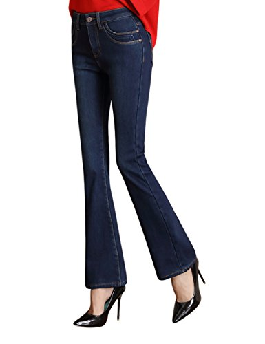 Mena Uk Women High Waist Plus Polar Fleece Casual Jeggings Straight Boyfriend Jeans Bleu fonc