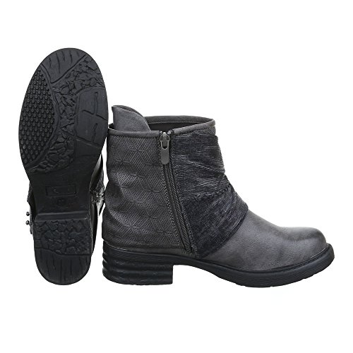 Ital-Design - botas estilo motero Mujer gris