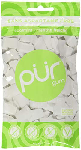(The PUR Company  | Sugar-Free + Aspartame-Free Chewing Gum  | 100% Xylitol  | Coolmint | Vegan + non GMO  | 55 Pieces per Bag)