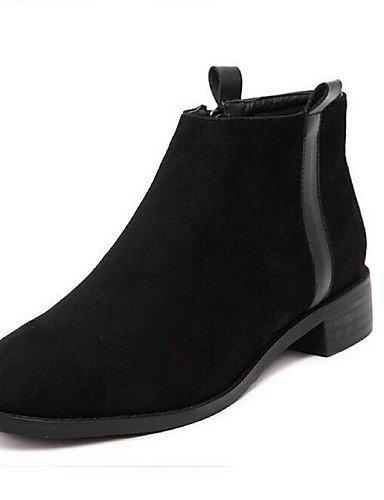 Cachemira Marrón Zapatos Botas Anfibias Black Redonda Xzz 5 Robusto Uk5 Exterior Mujer Eu38 Cn38 5 Negro De us7 Punta Tacón Casual FddOPq