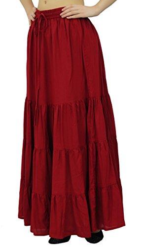 boho Bordeaux lastique femmes bohmes rayonne Flaired longue Bimba maxi jupes de jupe gZWPddS