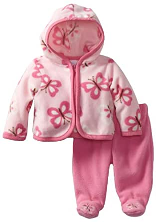 Vitamins Baby-girls Newborn 2 Piece Butterflies Hooded Pant Set, Pink, 0-3 Months
