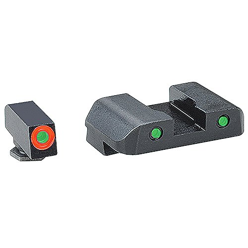 Glock Green Rear Sight - AmeriGlo Spartan Tactical Operator Front/Rear for Glock 42 and 43 Sight, Green/Orange