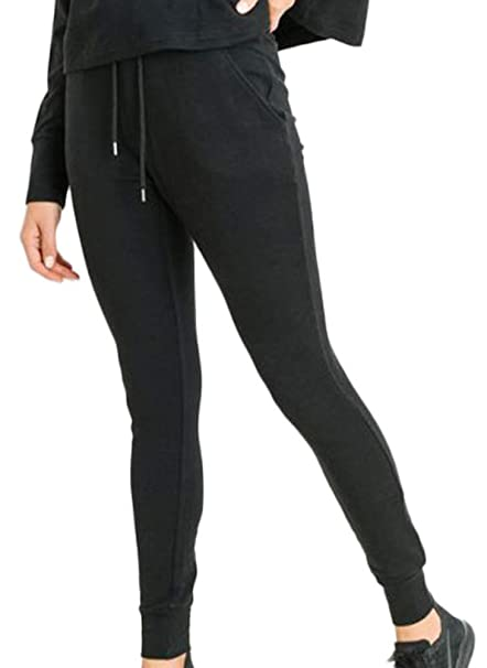 Mono B Tapered Drawstring Sweatpants Black at Amazon Womens ...