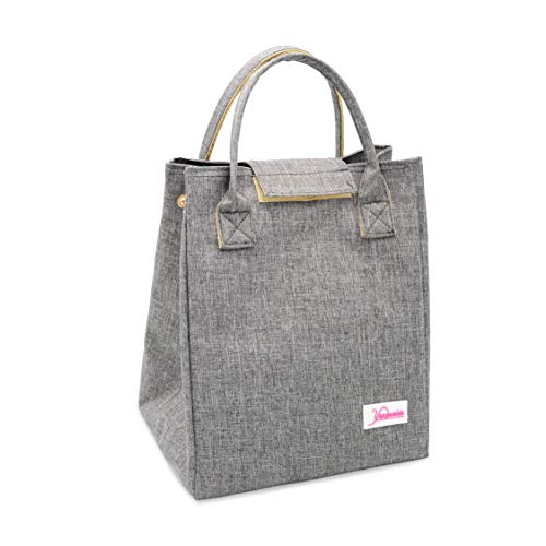Yansanido Reusable Thermal Foldable Lunch Bag Tote Bag Lunch Organizer Lunch Holder Insulated Lunch Cooler Bag for Women/Men (Gray)