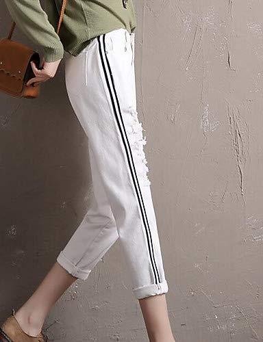 Femme Jeans White Basique Haute Taille pour Plus Pantalon Size Ray YFLTZ q5vwXp1x