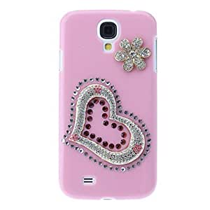 Heart and Flower Pattern Hard Case with Rhinestone for Samsung Galaxy S4 I9500