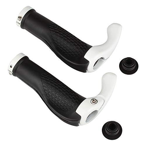 Flexzion Bicycle Handlebar Grips 1 Pair  White  Riding Cycling Lock On Handle Bar Ends Ergonomic Rubber For Mountain Road Mtb Bike Accessories With End Plugs Unisex