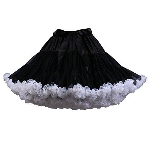 Youcanshine Erwachsene Damen flaumig Ballett Tanz Kostüm Party Pettiskirt Tutu Rock Mini Skirt Schwarz & Weissrand iBzwp7jFY