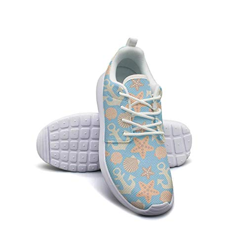 Anchor and Seashell Pattern Running Shoes Lightweight Women Sneaker Sport Soft Sole Shoes