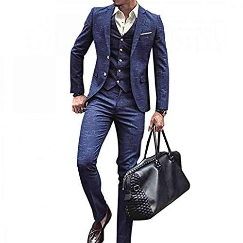 Men Tweed 3 Piece Suit, Classic Vintage Blue Plaid Check Grid Tweed Herringbone Wool Blend Men Suit 3 Pieces Striped Blazer (XL=US M) ()