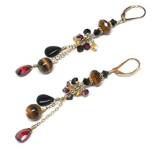 (Tiger Eye Garnet-Color CZ Crystal Chain Dangle Chandelier Gold-Filled Earrings)