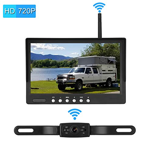 Emmako Digital Wireless Backup Camera System With 7 Monitor For Cars,Pickups,Trucks,Campers,Super Night Vision Adjustable Rear Front View Licence Plate Camera,Guide Lines On Off,IP69K Waterproof
