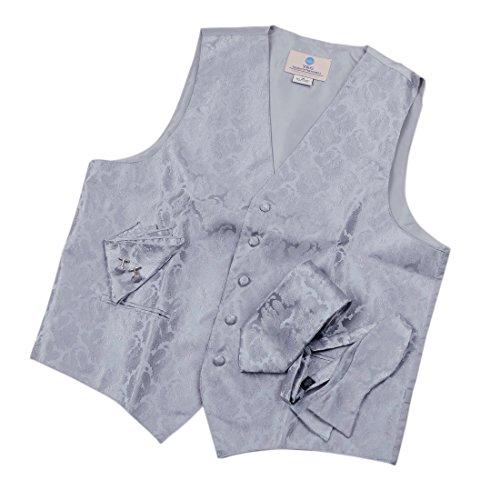 Pattern Free Vest Fleece (VS1006-3XL Grey Pattern Vest Mens Tie Cufflinks Hanky Bowtie Dad Gift By Y&G)