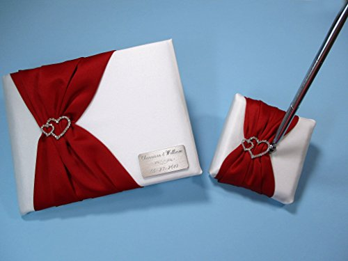 White and Red Personalized Wedding Guest Book and Pen Set with Linked Hearts