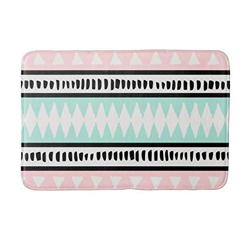 Yesstd Absorbent Super Cozy Bath Mat Doormat Welcome Mats Indoor/Outdoor Bath Floor Rug Decor Art Print with Non Slip Backing Abstract Pastel Pink Mint Geometric (30