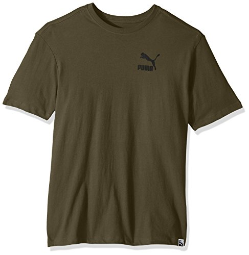 PUMA Men's Archive Logo Box T-Shirt, Olive Night/Black, Small