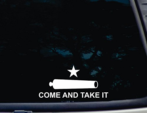 CMI215 Come and Take It Flag Bumper Sticker Vinyl Car Window Decal | White | 7