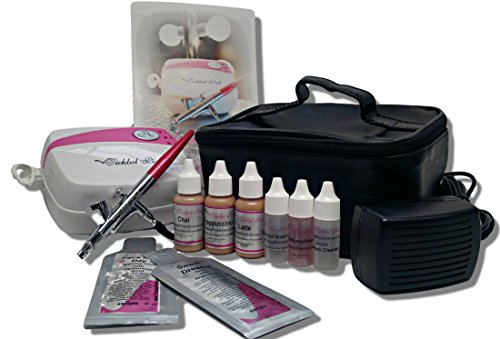 Tickled Pink AirbrushTM Makeup Compressor Kit with Light Shades Foundation Makeup by Tickled Pink
