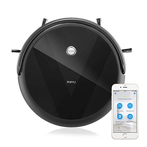 PHIYU Robot Vacuum Cleaner A3V Works with Alexa, App Controls,Smart Path Planning, Robotic Vacuum Integrate Vacuuming, Sweeping and Mopping; Good for Pet Hair Care on Hard Floors and Low Pile Carpet