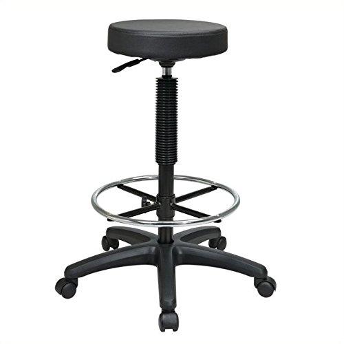 Office Star Thick Padded Vinyl Seat Backless Drafting Stool with Adjustable Footring, Black, 23-33-Inch Heigh Adjustable - Vinyl Backless Stool