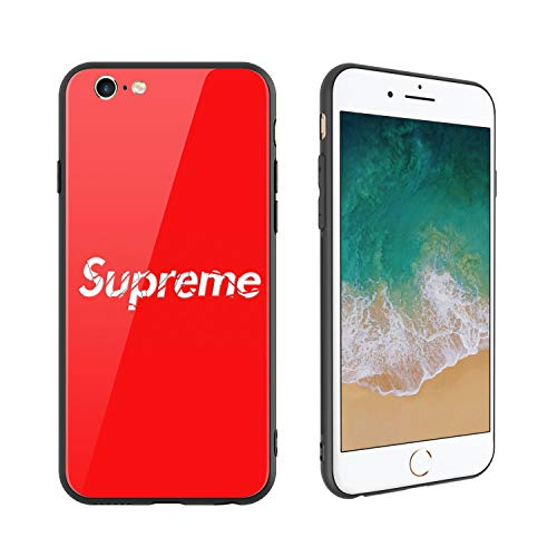 (Fashion Brand 168 Design, Tempered Glass Case for iPhone6, Soft Silicone Bumper Anti-Scratch Ultra-Thin, iPhone6 Phone Cover for Girls, Teens, Women)