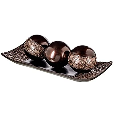 Dublin Home Decor Tray and Orbs Balls Set of 3 - Coffee Table Mantle Decor Centerpiece Bowl with Spheres House Decorations, Decorative Accents for Living Room or Dining Table, Gift Boxed (Brown) - ACCENTUATE YOUR SPACE: This Decorative Tray & Orb Ball Set Spruces Up Any Room with A Rusting Charm. EXTRA-DURABLE: Heavy Resin Gives the Home Décor Balls and Tray a Premium Feel Without Risk of Rust. THOUGHTFUL DESIGN: Bottom Protectors Protect Table Scratches, Special Holes Prevent the Balls Rolling. - living-room-decor, living-room, home-decor - 41WKpe1K2EL. SS400  -