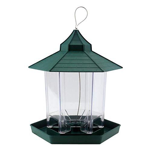Outdoor Bird Feeder - Gazebo Bird Feeder By PetsN'all - Transparent, Hanging Bird Feeder in Hexagon Shape, Handles Up To 2.25 Lbs