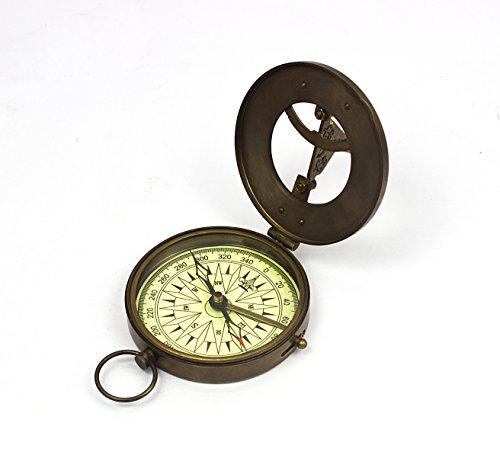 Vintage Nautical Sundial Compass Round Brass Finish Sundial Navigational Compass Maritime Compasses