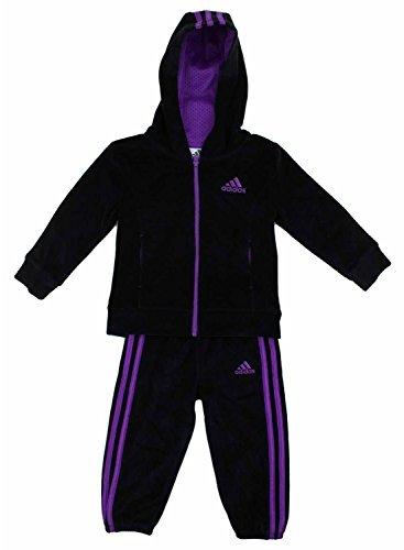 adidas Girls' 2 Piece Jacket Pants Tracksuit Set (Black, 2T) (Kids Tracksuit)