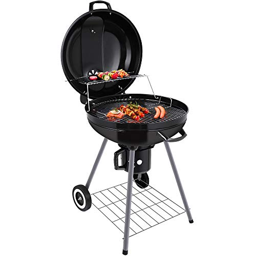 BEAU JARDIN Charcoal Grill 22 Inch Diameter Cooking Grate Charcoal BBQ Grill Outdoor Cooking with Thermometer and Warming Grid Round Charcoal Barbecue Grills Kettle Portable Camping Standing Grill