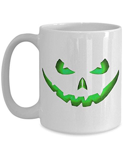 Halloween Coffee Mug | Scary Green Pumpkin Jack O Lantern Face | Funny Novelty Gift Idea For Women Men White 15oz Ceramic ()