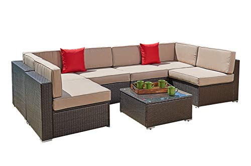 SUNCROWN Outdoor 7-Piece Sectional Sofa Set All-Weather Brown Wicker Full Back Patio Set with Washable Cushions and Glass Coffee Table, Patio, Backyard, Porch, Garden or Poolside