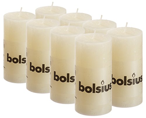 BOLSIUS 8 Pk. Ivory Rustic Pillar Party Wedding Candles Aprox. 2X4 Inches (100X50mm)