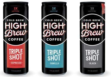 High Brew Cold Brew Coffee, Triple Shot Variety Pack: Vanilla Bean, Black, Espresso, 12fl.oz (Pack of 12)