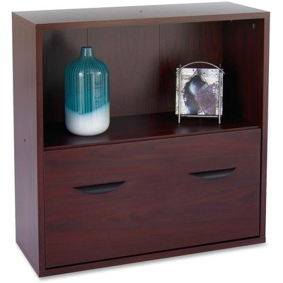 Safco Products 9445MH Apres Modular Storage Shelf with Lower File Drawer, Mahogany - Safco Lateral File