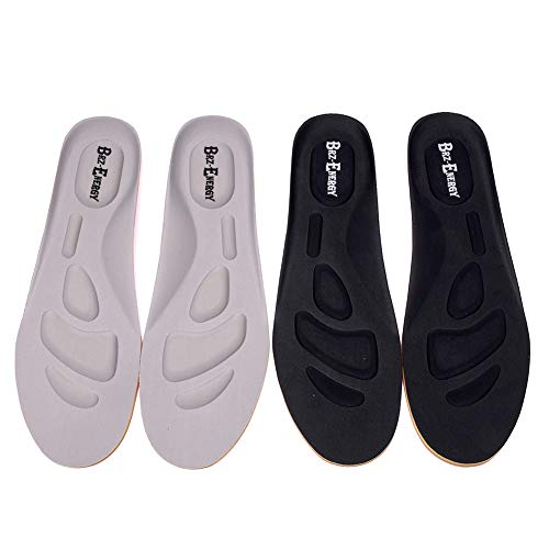 Comfort Insoles for Men and Women Deodorize Breathable Massaging Foot Pain Shock Absorption Eva Insoles 2 Pairs Full Length (2pairs(Black/Grey), Small: Men's 4-7.5/Women's 5.5-9)