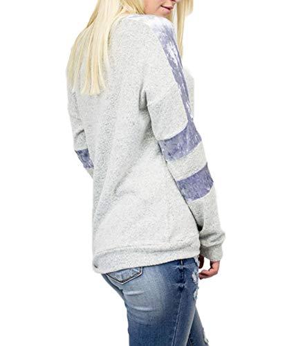 e Felpe Maglietta a Cucitura Velluto Shirt Primavera Manica Cime Bluse Collo Jumper Pullover Moda Casual Donne Patchwork Rotondo Autunno Lunga Maglie Cielo Blu Maglione T Tops vdBwxqAw