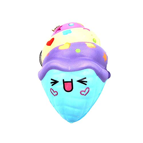 (Gbell  Bell Cute Ice Cream Squeeze Toy,Super Soft Squishy Mochi Decompression Toy Lovely Squeezable Keychain Slow Rising Squeeze Toy Stress Reliever Educational Toys for)