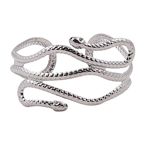 ASHI'S Collection Shiny Metallic Snake Shape arm Cuff for Women and Girls in a Rich Rhodium Finish.