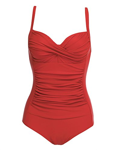 luxilooks Vintage Bathing Suit Women's Tummy Control Monokini One Piece Swimsuit (Red,X-Small (Best Bathing Suit For Curvy Petite)