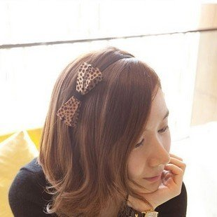 usongs Korean stylish handmade hair accessories hair bow awesome elegant leopard bow hair (Leopard Tiara)