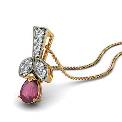 14K Or jaune 0.12CT TW Round-cut-diamond (IJ | SI) et rubis Pendentif