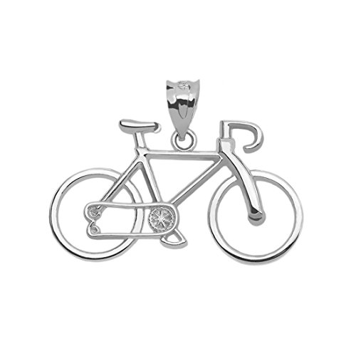 Bicycle Sports Charm Bike Pendant in 14k White Gold