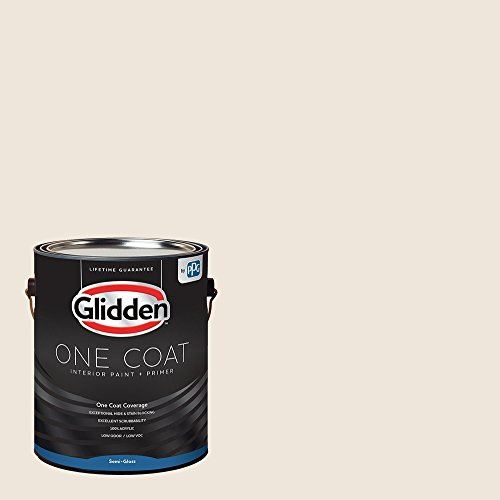 Glidden Interior Paint + Primer: White/Pearls and Lace, One Coat, Semi-Gloss, 1 Gallon