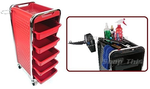 TekNoh 3C - Salon Storage Trolley - Red - Hairdresser Barber Hair Beauty Drawers Spa Cart N0.2 Red