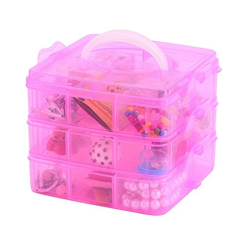 DJUNXYAN 3-Tier 18 Sections Transparent Stackable Adjustable Compartment Slot Plastic Craft Storage Box Organizer for Toy Desktop Jewelry Accessory Drawer Or Kitchen 4 Colors 3 Sizes(Medium Pink)